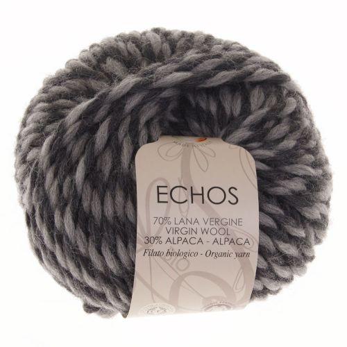 106. 'Echos' Organic Yarn on Ball - Silver/Charcoal 2738